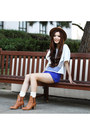Bronze-leather-zara-boots-blue-quilted-morphologie-shorts