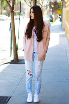 light pink oversized H&M blazer - light blue boyfriend jeans jeans
