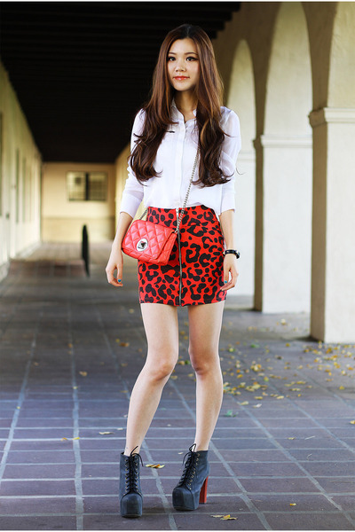 red leopard print Dolled Up skirt - silver winter free people jacket