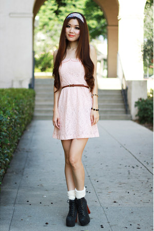 black leather Jeffrey Campbell boots - light pink lace Charlotte Russe dress