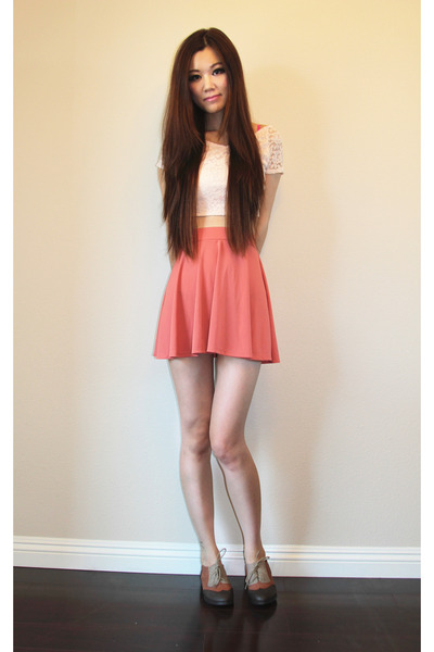 coral skirt Urban Outfitters skirt - c-label oxford C-Label shoes - Topshop top