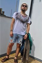 H&M t-shirt - DIY shorts - Kurt Geiger shoes - H&M hat - H&M sunglasses