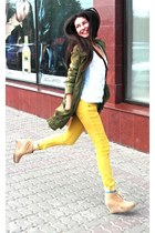 olive green H&M coat - mustard H&M pants - ivory New Yorker top