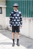 navy Topman sweater - black Dr Martens shoes