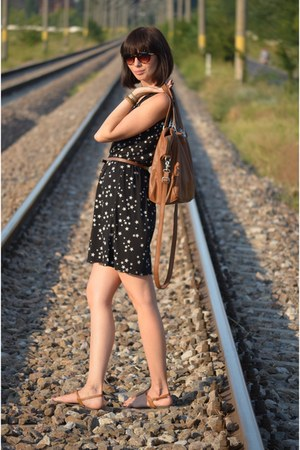 black Takko dress - brown reserved bag - New Yorker sunglasses