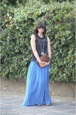 blue maxi skirt asos skirt - crimson etienne aigner bag