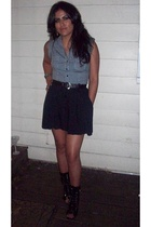 Forever21 shirt - Goodwill belt - Goodwill skirt - Ebay shoes