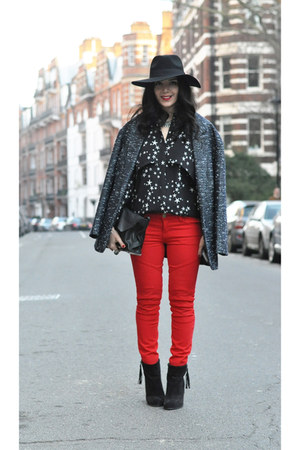 warehouse hat - Topshop boots - Primark coat - red J Brand jeans