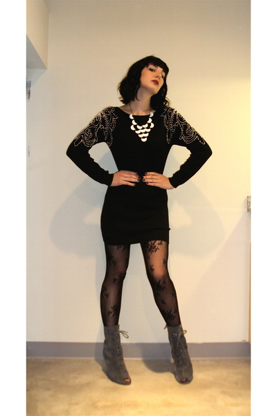 Motel dress - Urban Outfitters tights - f21 necklace - Urban Outfitters boots