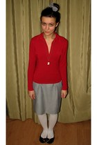 white skirt - white knitted tights - red Mango top - white accessories
