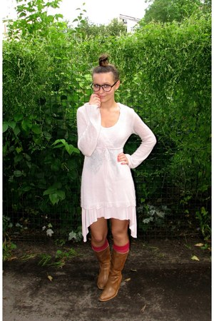 hot pink knee high socks - tawny thrifted boots - light pink thrifted dress