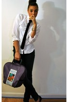 white unknown shirt - unknown bag - black unknown tie