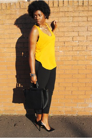 black Zara bag - mustard Zara top - black Zara pants