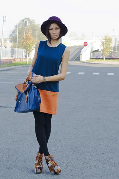 blue Zara dress - nude jeffreay campbell boots - purple Zara hat