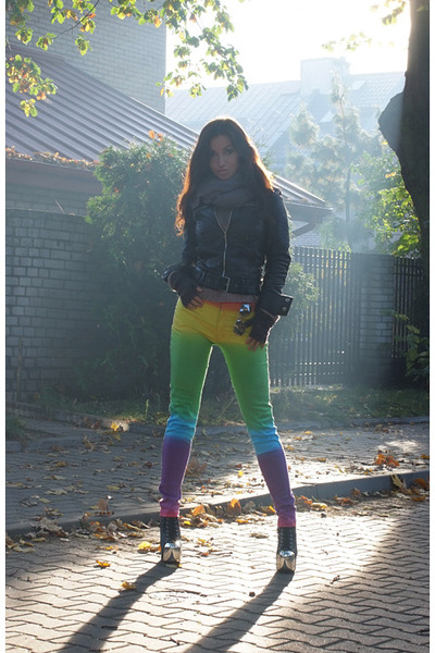 black Jeffrey Campbell boots - chartreuse Motel Rocks jeans - black Zara jacket