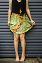 olive green tie-dyed rayon selfmade skirt