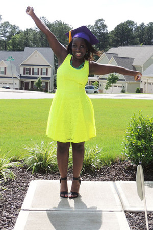 yellow neon Express dress