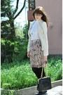 White-mng-blazer-ivory-mng-shirt-black-mali-parmi-bag-peach-kello-skirt-