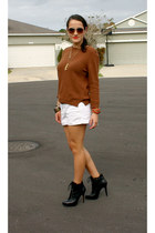 ivory Old Navy shorts - black san edelman boots - Zara sweater