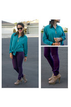 teal vintage blouse - heather gray shoes - deep purple PacSun pants