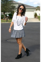 cotton on skirt - Zara boots - Forever21 blouse