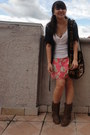 Tawny-cowboy-boots-black-thrifted-bag-red-print-thrifted-skirt