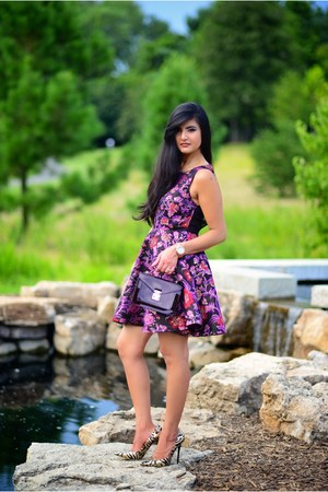 Louis Vuitton bag - aliceolivia dress - Jimmy Choo heels - Michael Kors watch