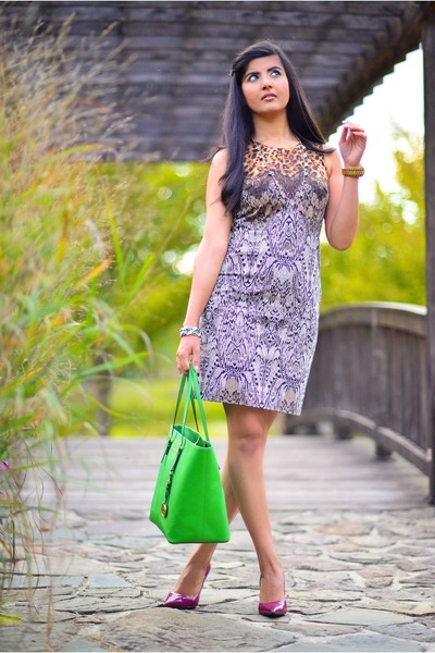 green Michael Kors bag - ann taylor dress