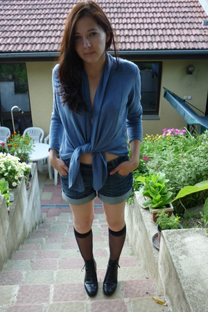 black boots - blue F&F sweater - blue shorts