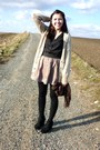 Beige-f-f-sweater-black-tights-black-secondhand-blouse