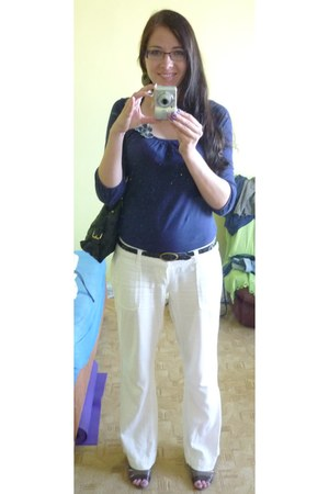 navy Zara shirt - white Terranova pants
