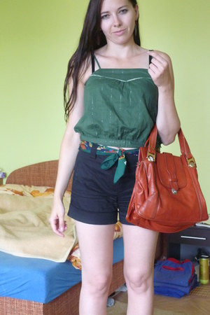 brown thrifted vintage bag - black Orsay shorts - dark green thrifted top