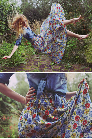 floral ClubCouture dress - denim romwe shirt