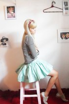 white Zara top - beige santa lolla shoes - aquamarine Laysa Rosa skirt