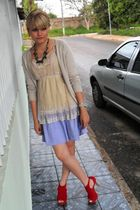 beige Zara cardigan - beige Riachuelo top - purple Laysa Rosa skirt - red Debora