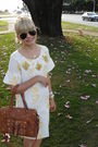 White-e-zone-dress-yellow-arezzo-shoes-brown