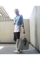 blue carrefour jacket - white Tricot t-shirt - white All star shoes - silver Mel