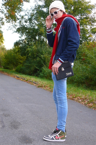 Fred Perry jacket - College purse - Cheap Monday jeans - vintage hat