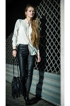 black leather Jeffrey Campbell heels - ivory H&M shirt
