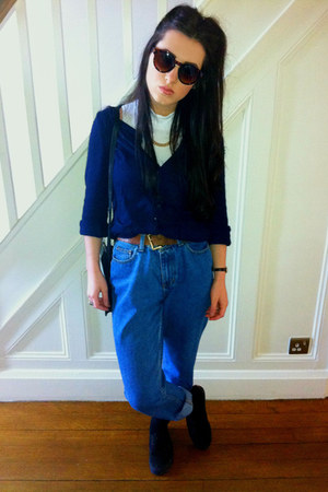 gold Claires Accessories necklace - blue thrifred jeans