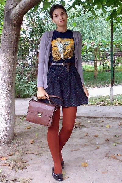 dark brown satchel Zara purse - navy shirt - burnt orange tights