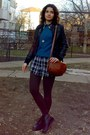 Black-jacket-black-cubus-shirt-brown-tights-burnt-orange-purse