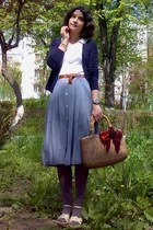 basket thrifted purse - scarf - plaid midi thrifted skirt - collared top