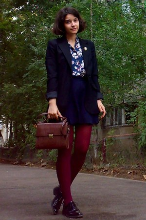 black Zara blazer - black leather shoes - crimson tights - dark brown Zara purse