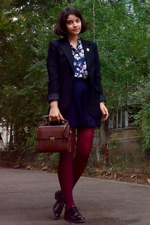 black Zara blazer - black leather shoes - crimson tights - dark brown Zara purse