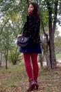 Black-blazer-burnt-orange-leather-boots-camel-thrifted-zara-sweater