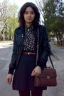 Ruby-red-thrifted-belt-black-leather-jacket-black-thrifted-floral-shirt