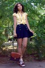 Burnt-orange-thrifted-purse-gold-h-m-shirt-navy-pleated-thrifted-shorts
