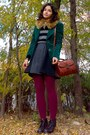 Gray-h-m-sweater-forest-green-velvet-thrifted-blazer-maroon-tights