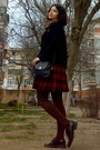 Brown-floral-thrifted-scarf-navy-h-m-shirt-brown-tights